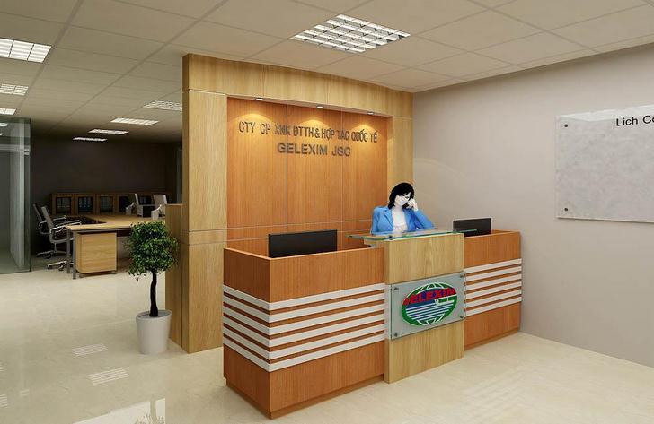 Thiết kế backdrop quầy lễ tân, văn phòng công ty theo yêu cầu